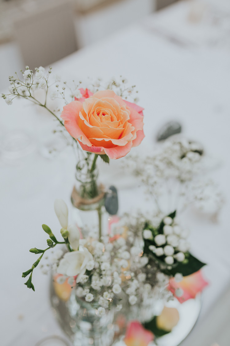 Rose Bottle Flowers Mirror Centrepiece Gypsophila Colour Pop Coral Beach Wedding http://www.kategrayphotography.com/