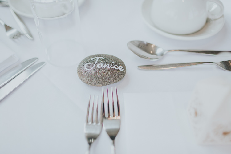 Pebble Place Name Setting Colour Pop Coral Beach Wedding http://www.kategrayphotography.com/
