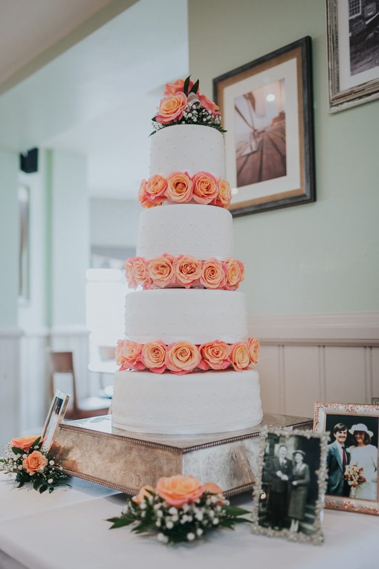 Rose Iced Cake Pearl Tall Colour Pop Coral Beach Wedding http://www.kategrayphotography.com/