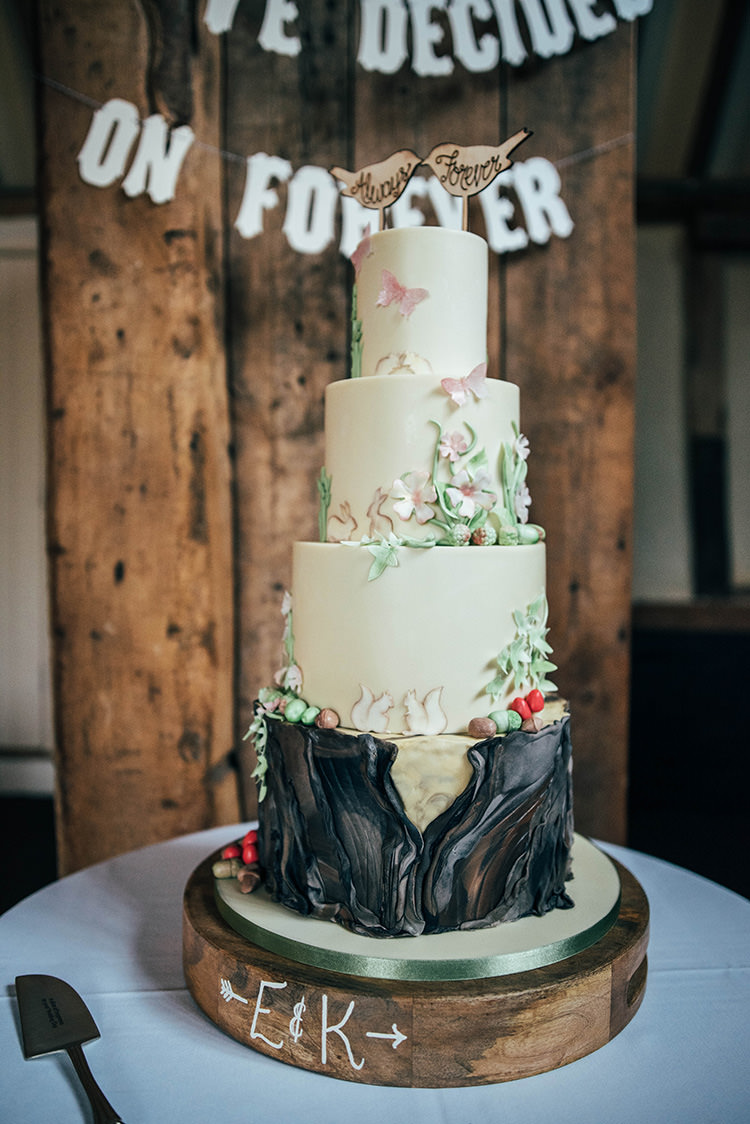 Cake Log Toadstool Flowers Birds Nature Woodland Colourful Hand Made Rustic Barn Flower Filled Wedding http://www.threeflowersphotography.co.uk/