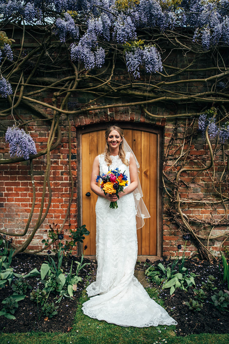 Maggie Sottero Cassidy Lace Dress Gown Bride Bridal Colourful Hand Made Rustic Barn Flower Filled Wedding http://www.threeflowersphotography.co.uk/