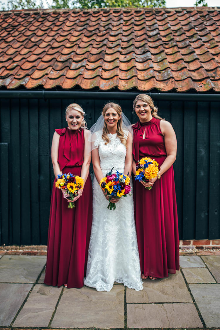 Long Red Maxi Dresses Bridesmaids Colourful Hand Made Rustic Barn Flower Filled Wedding http://www.threeflowersphotography.co.uk/