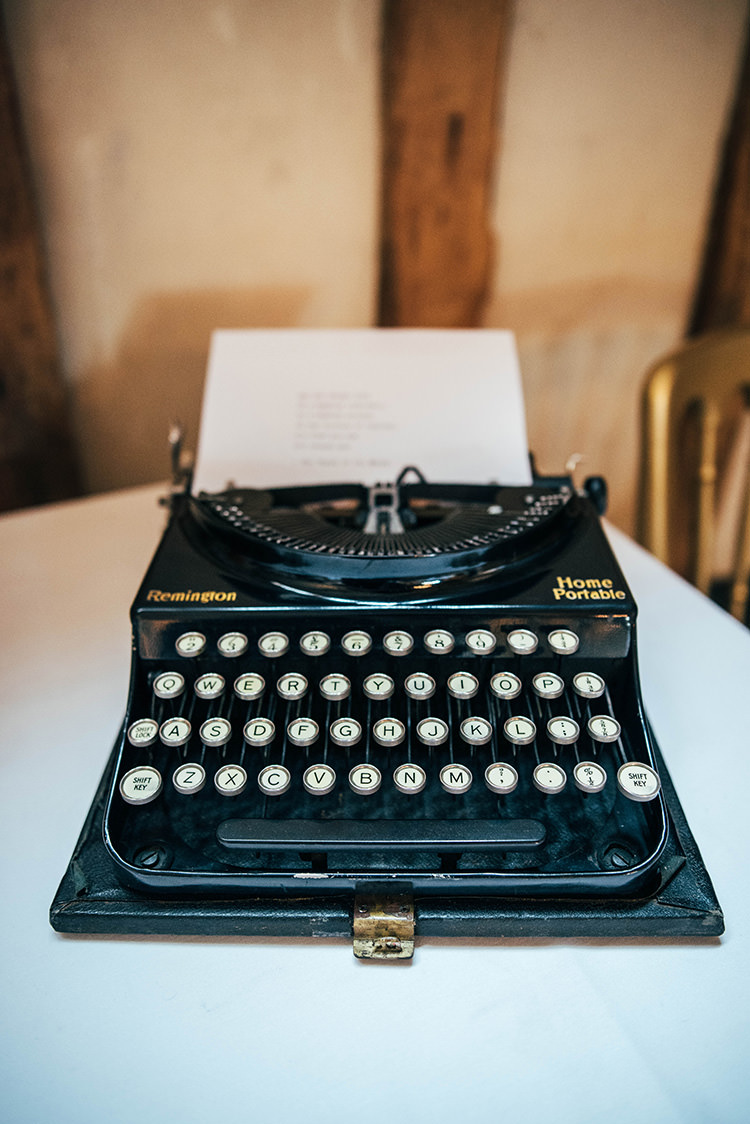 Vintage Typewriter Guest Book Colourful Hand Made Rustic Barn Flower Filled Wedding http://www.threeflowersphotography.co.uk/