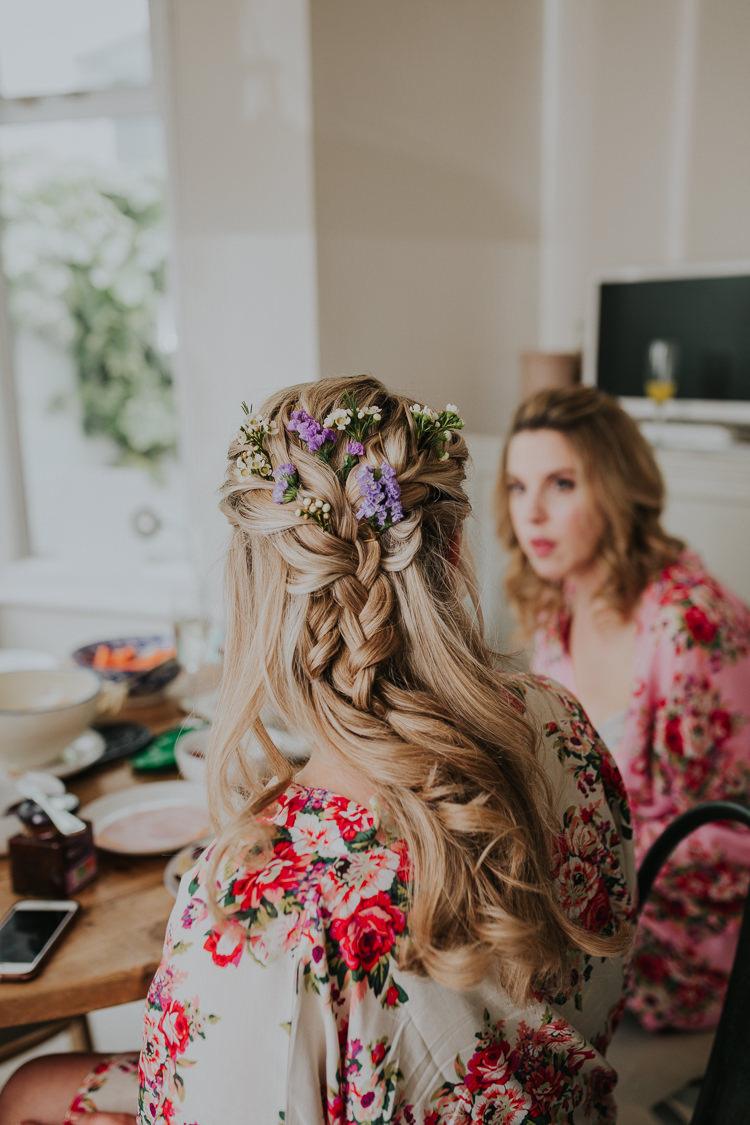 Hair Flowers Plait Half Up Half Down Bride Bridal Low Key Colour Pop Local City Wedding http://www.kategrayphotography.com/