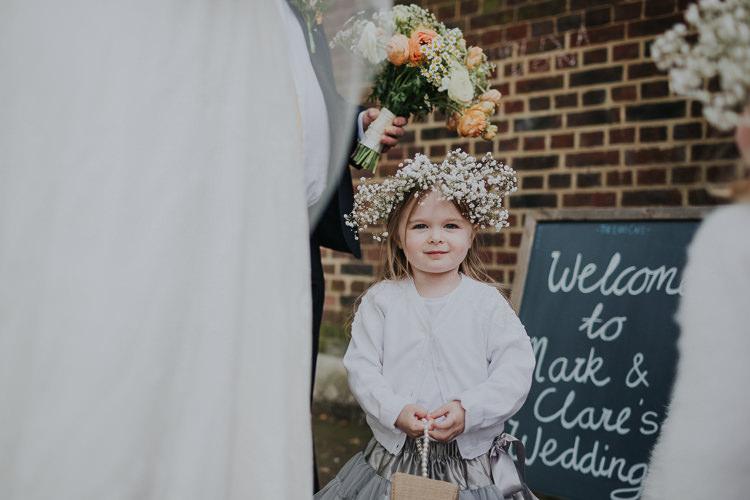 Flower Girl Gypsophila Crown Low Key Colour Pop Local City Wedding http://www.kategrayphotography.com/
