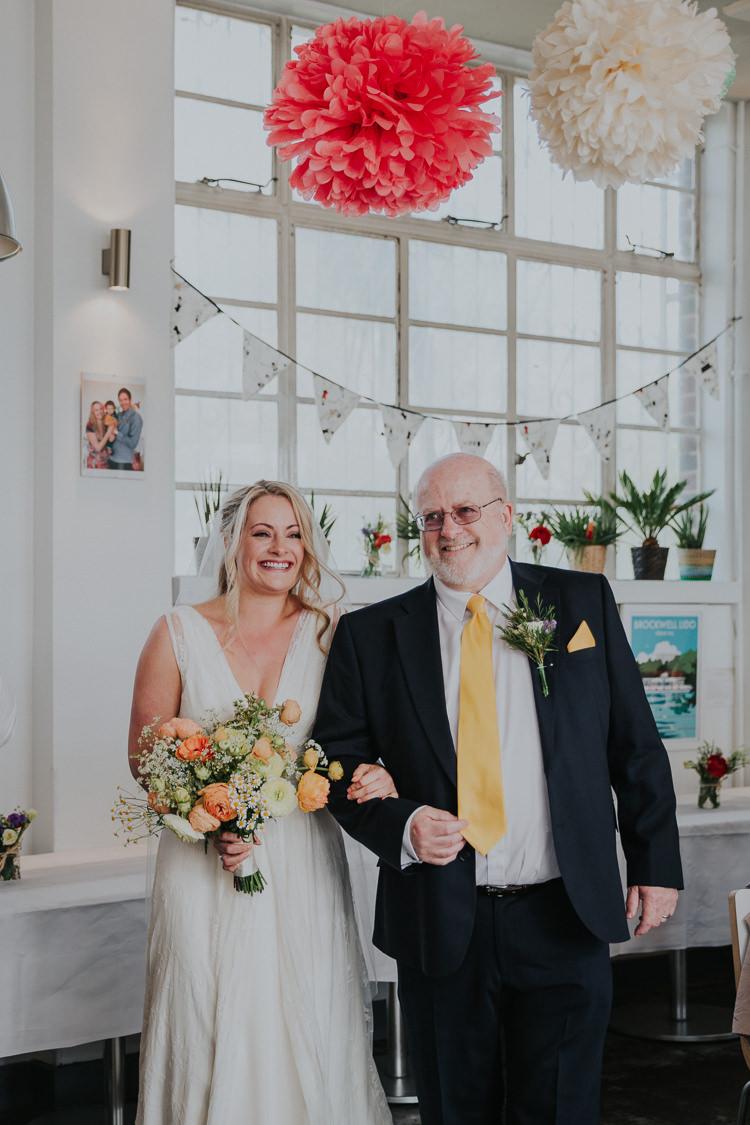 Bride Bridal Charlie Brear Dress Gown Veil Peach Rose Bouquet Gypsophila Tissue Paper Pom Pom Bunting Brockwell Lido Low Key Colour Pop Local City Wedding http://www.kategrayphotography.com/