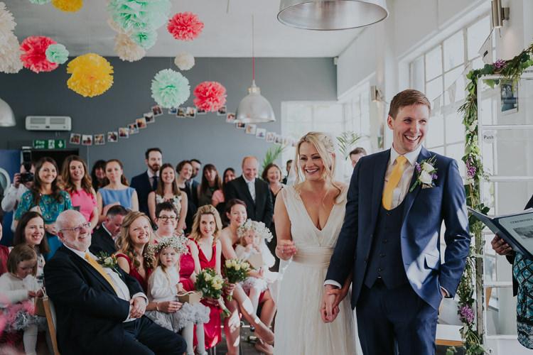 Tissue Paper Multicolour Pom Poms Bride Bridal Charlie Brear Dress Gown Veil Edit Suits Groom Yellow Tie Three Piece Waistcoat Low Key Colour Pop Local City Wedding http://www.kategrayphotography.com/
