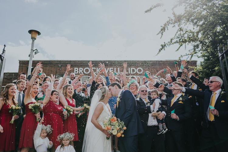 Confetti Shot Moment Bride Bridal Charlie Brear Dress Gown Veil Edit Suits Groom Yellow Tie Three Piece Waistcoat Low Key Colour Pop Local City Wedding http://www.kategrayphotography.com/