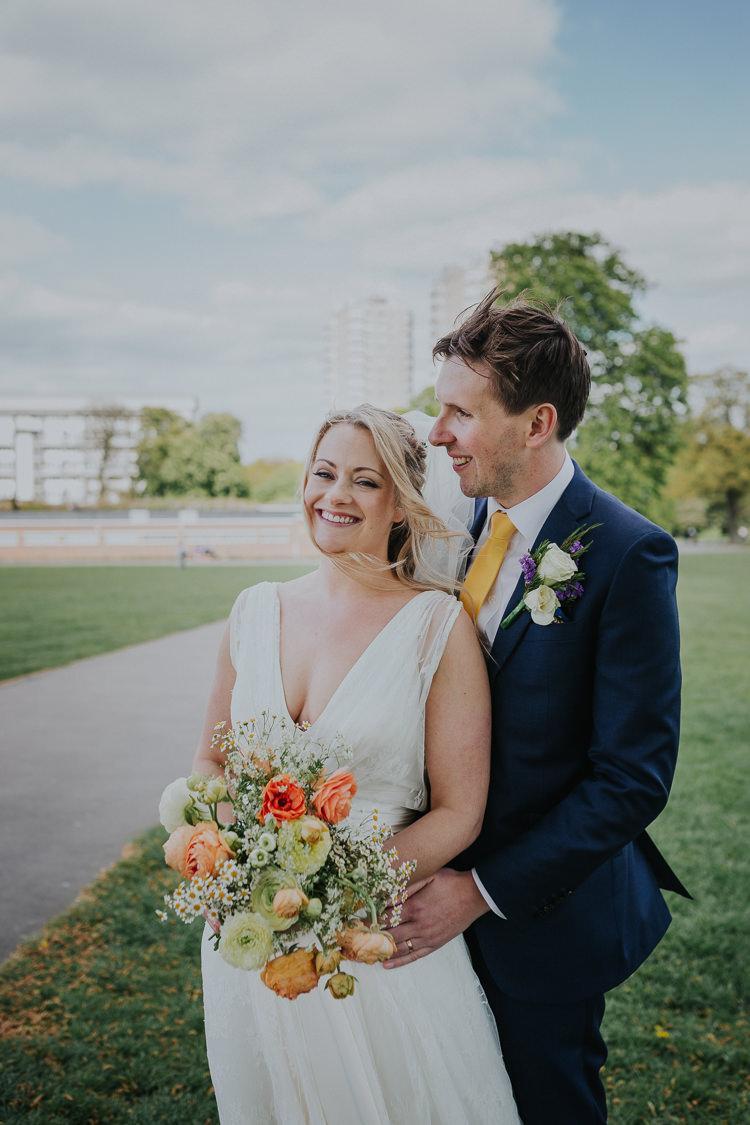 Bride Bridal Charlie Brear Dress Gown Veil Edit Suits Groom Yellow Tie Three Piece Waistcoat Low Key Colour Pop Local City Wedding http://www.kategrayphotography.com/