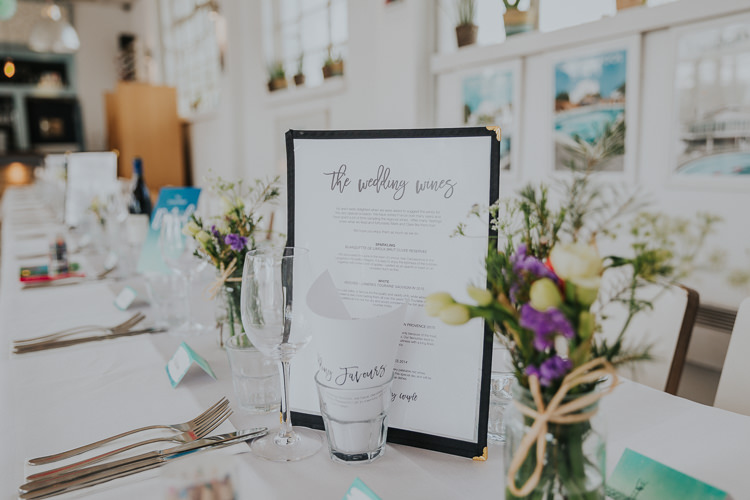 Menu Wine Jar Twine Gypsophila Flowers Table Place Setting Low Key Colour Pop Local City Wedding http://www.kategrayphotography.com/
