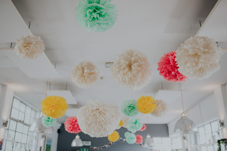 Tissue Paper Pom Pom Multicoloured DIY Suspended Ceiling Low Key Colour Pop Local City Wedding http://www.kategrayphotography.com/