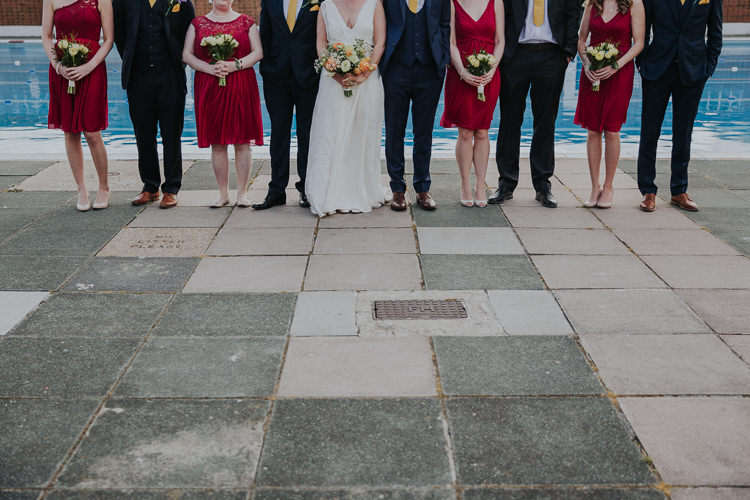 Bridesmaids Red David's Brockwell Lido Pool Bride Bridal Charlie Brear Dress Gown Veil Edit Suits Groom Yellow Tie Three Piece Waistcoat Low Key Colour Pop Local City Wedding http://www.kategrayphotography.com/