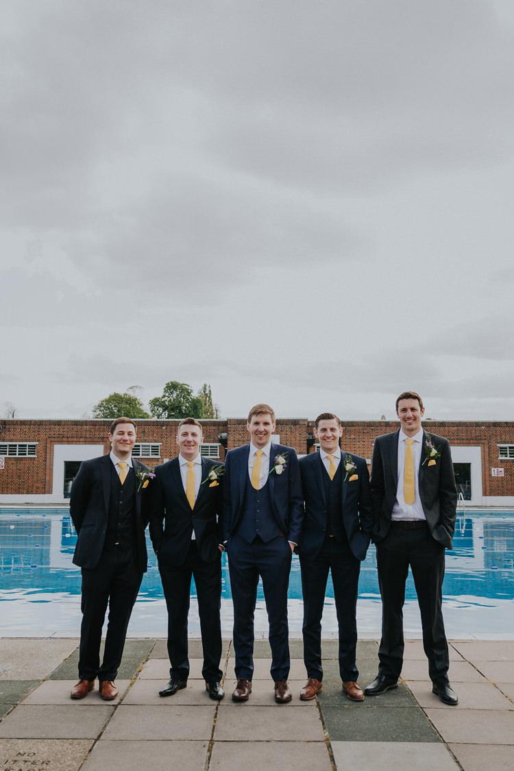 Groom Groomsmen Edit Suits Yellow Tie Three Piece Waistcoat Brockwell Lido Pool Low Key Colour Pop Local City Wedding http://www.kategrayphotography.com/