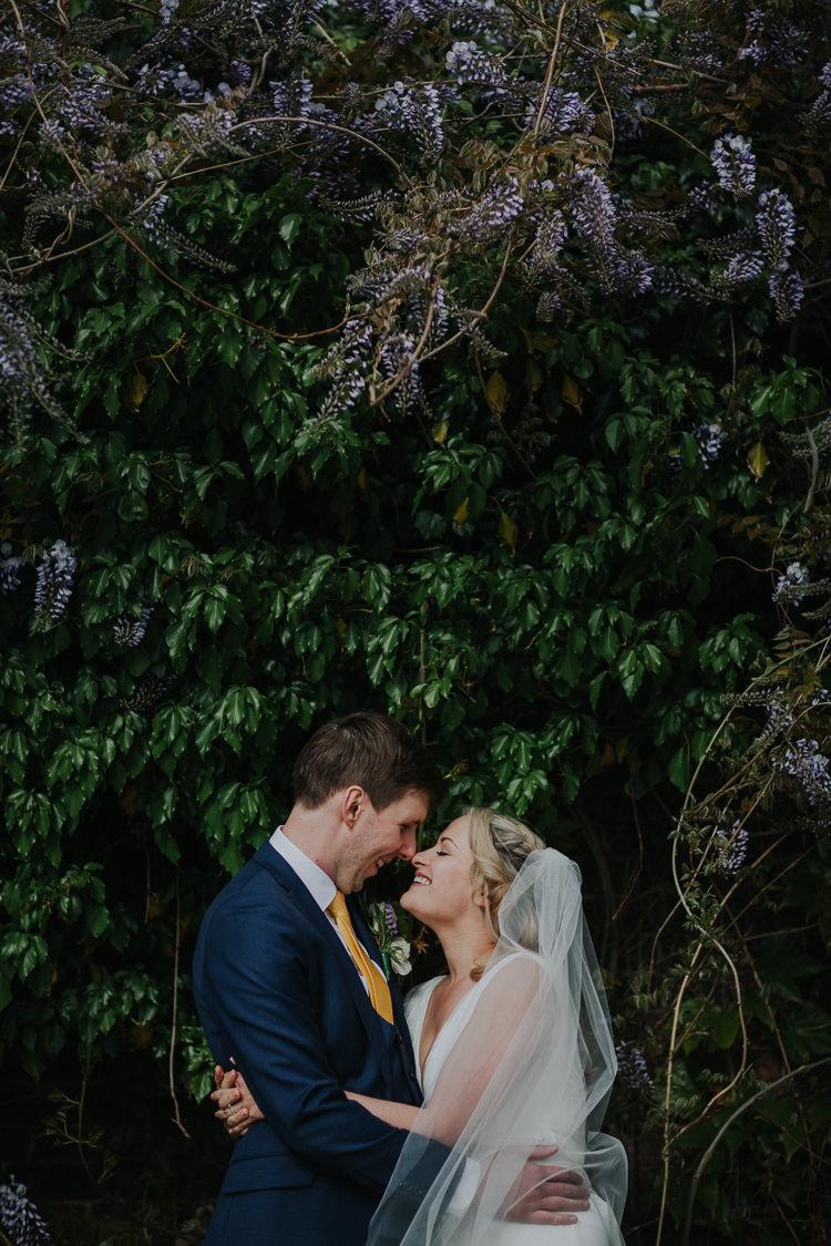 Brockwell Lido Pool Bride Bridal Charlie Brear Dress Gown Veil Edit Suits Groom Yellow Tie Three Piece Waistcoat Low Key Colour Pop Local City Wedding http://www.kategrayphotography.com/