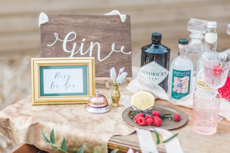 Gin Bar Rustic Wooden Stand Station Ethereal Fine Art William Morris Wedding Ideas http://jessicadaviesphotography.co.uk/