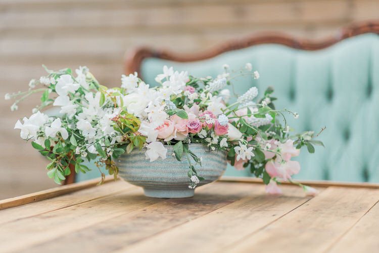 Urn Flowers Whimsical Pretty Pink Ethereal Fine Art William Morris Wedding Ideas http://jessicadaviesphotography.co.uk/