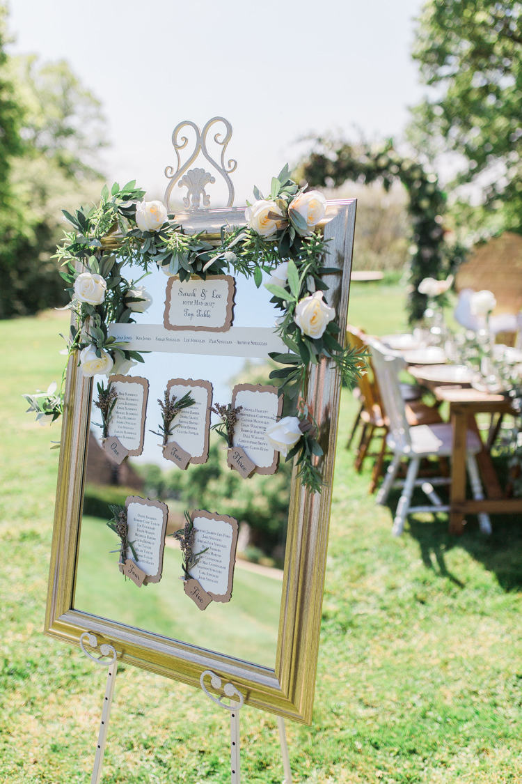 Mirror Frame Seating Plan Table Chart Flowers Foliage Bohemian Garden Greenery Wedding Ideas http://www.storytellerphotography.co.uk/