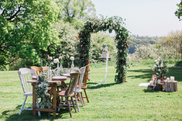 Rustic Wooden Mismatch Furniture Table Chairs Tablescape Bohemian Garden Greenery Wedding Ideas http://www.storytellerphotography.co.uk/