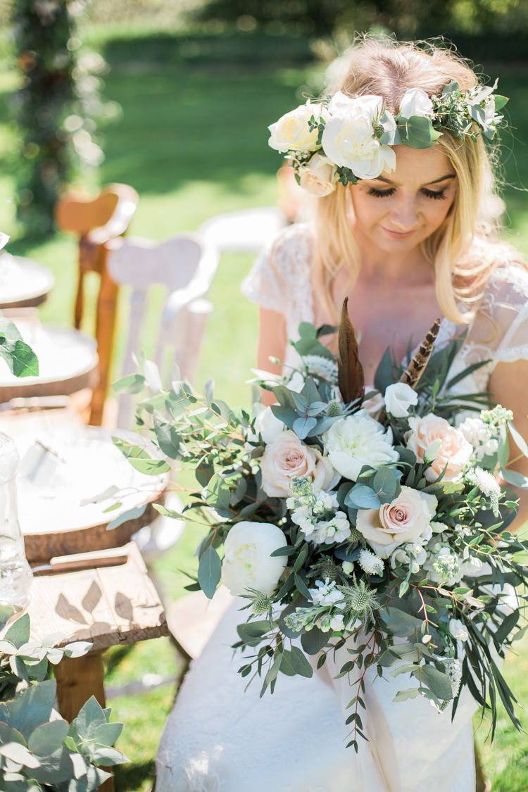 Foliage Flowers Roses Bouquet Pink Cream Feather Bride Bridal Crown Bohemian Garden Greenery Wedding Ideas http://www.storytellerphotography.co.uk/