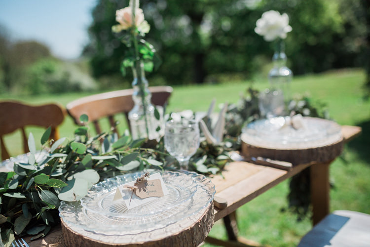Log Place Setting Glass Plate Rustic Wooden Bohemian Garden Greenery Wedding Ideas http://www.storytellerphotography.co.uk/