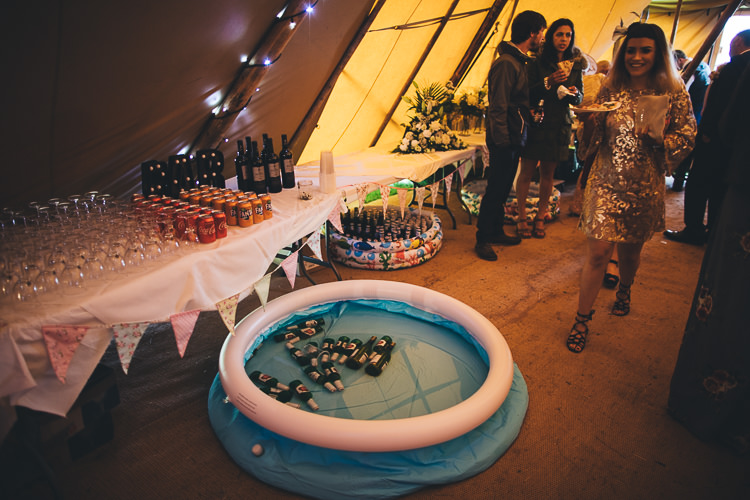 Paddling Pool Drinks Booze Large DIY Bohemian Tipi Party Wedding http://www.mikeplunkettphotography.com/