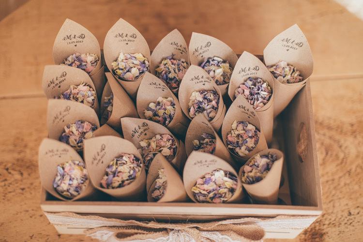 Confetti Cones Petals Box Pretty Pale Pink Scenic Coast Wedding http://rachellambertphotography.co.uk/