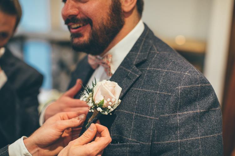 Rose Buttonhole Groom Pretty Pale Pink Scenic Coast Wedding http://rachellambertphotography.co.uk/