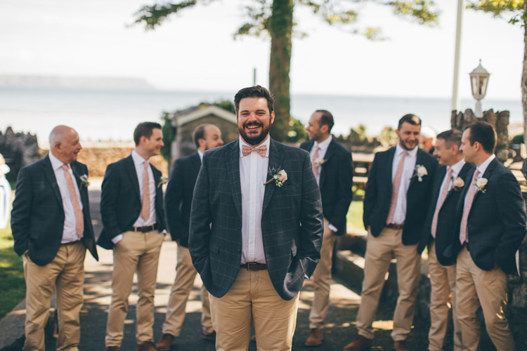 Check Jacket Sand Chinos Bow Tie Groom Pretty Pale Pink Scenic Coast Wedding http://rachellambertphotography.co.uk/