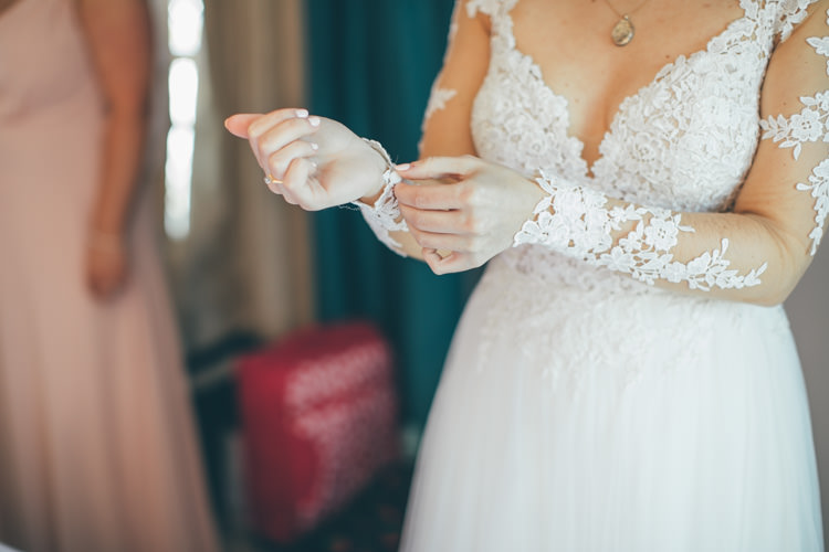 Essense of Australia Floral Appliqué Gown Sleeves Dress Bride Bridal Pretty Pale Pink Scenic Coast Wedding http://rachellambertphotography.co.uk/