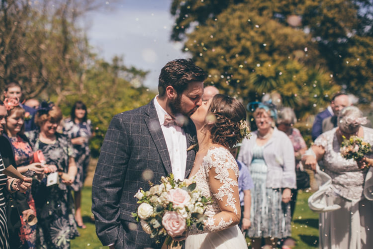 Confetti Throw Bride Groom Pretty Pale Pink Scenic Coast Wedding http://rachellambertphotography.co.uk/