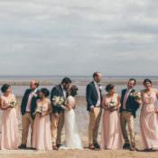 Pretty Pale Pink Scenic Coast Wedding