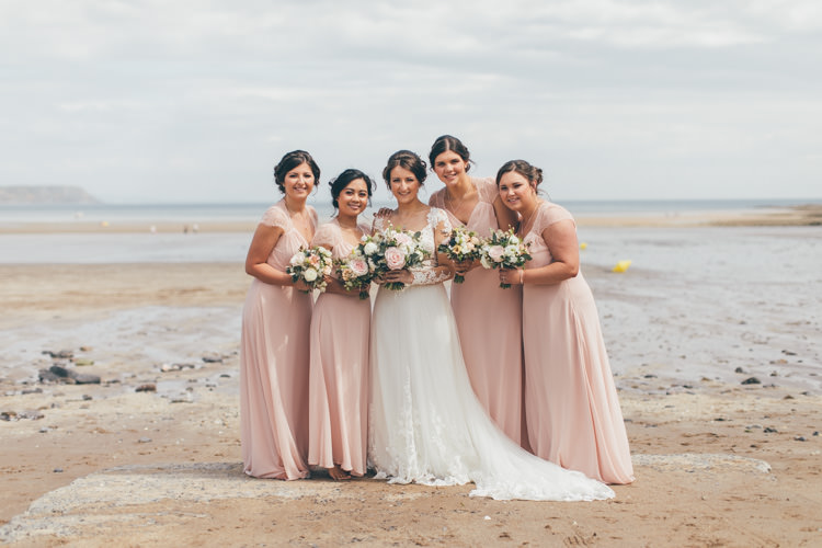 Long Maxi Bridesmaid Dresses Pretty Pale Pink Scenic Coast Wedding http://rachellambertphotography.co.uk/