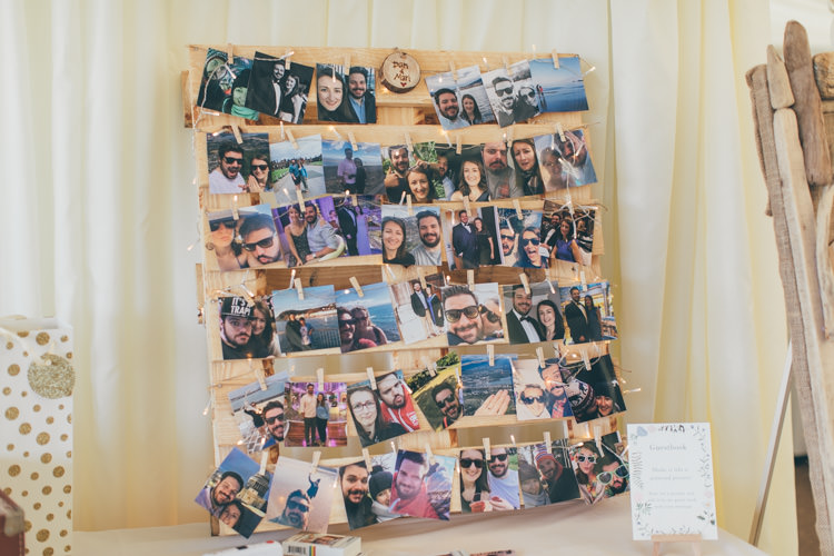 Photo Wall Wooden Pallet Pretty Pale Pink Scenic Coast Wedding http://rachellambertphotography.co.uk/
