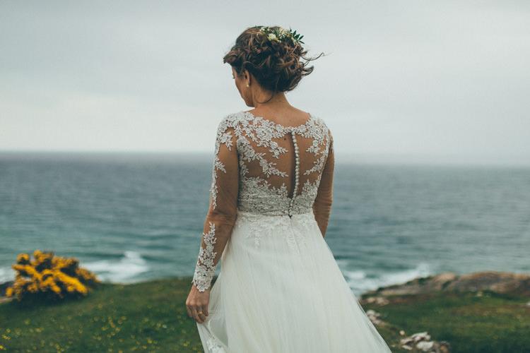 Essense of Australia Floral Appliqué Gown Sleeves Dress Bride Bridal Back Buttons Pretty Pale Pink Scenic Coast Wedding http://rachellambertphotography.co.uk/