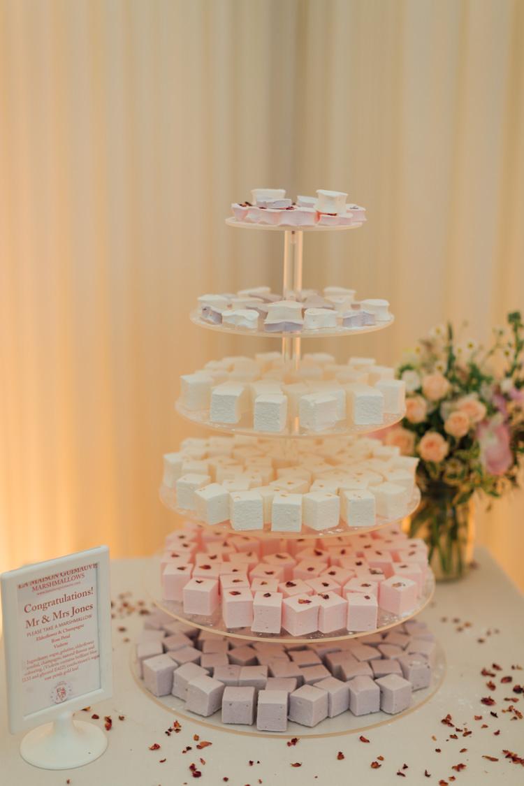 Marshmallow Cake Tower Pretty Pale Pink Scenic Coast Wedding http://rachellambertphotography.co.uk/