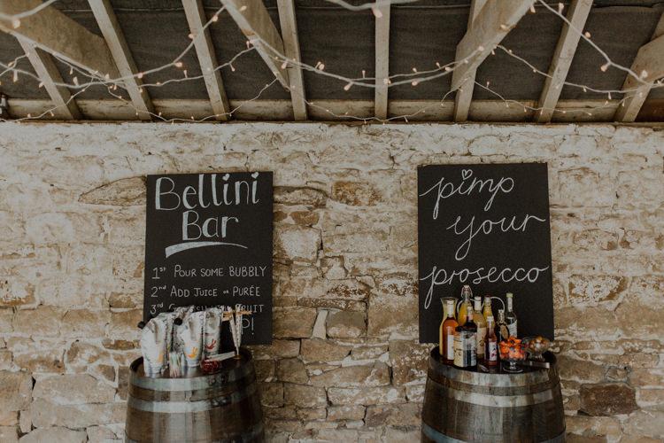 Bellini Bar Pimp Prosecco Bar Drinks Dreamy Natural Boho Barn Wedding https://heychrisrandle.com/