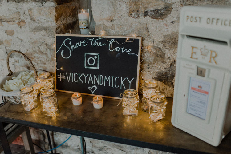 Hashtag Sign Candles Post Box Dreamy Natural Boho Barn Wedding https://heychrisrandle.com/