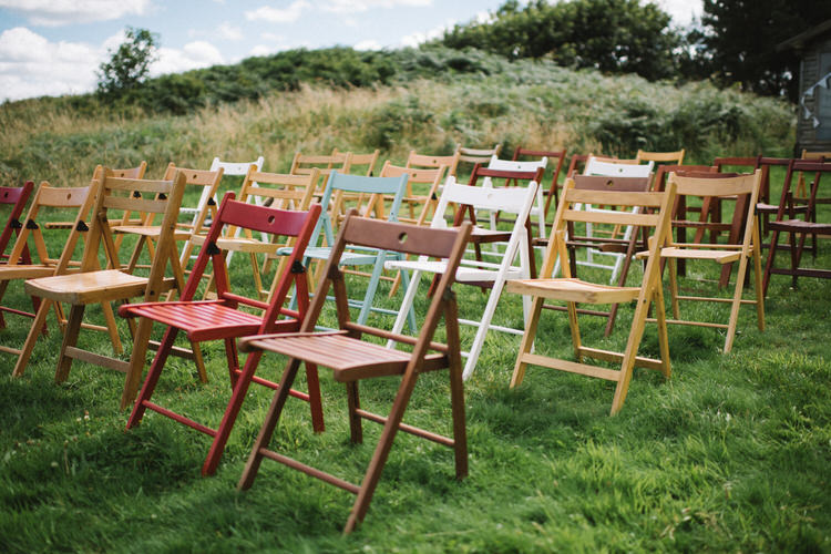 Rustic Chairs Ceremony Mis Matched Vintage Log Cabin Wedding Sea http://www.lisadevinephotography.co.uk/