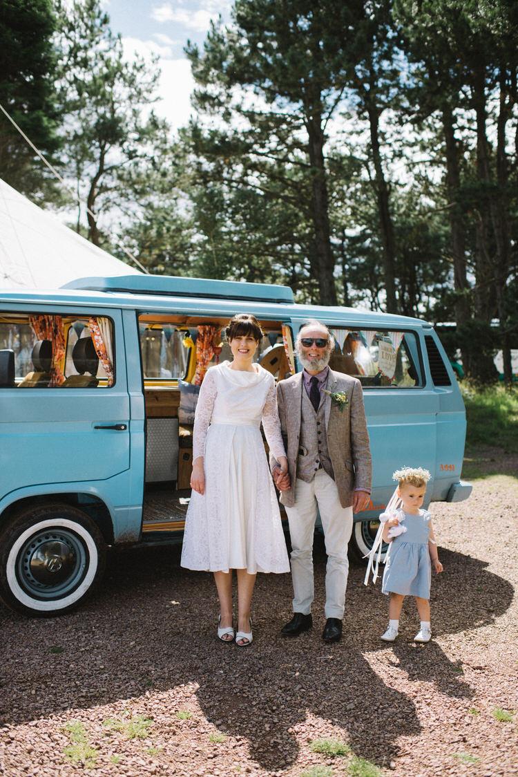 Camper Van Transport Vintage Log Cabin Wedding Sea http://www.lisadevinephotography.co.uk/