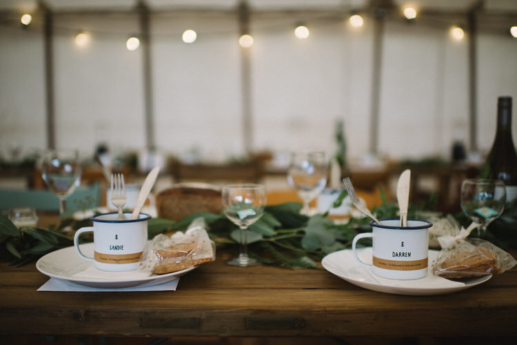 Table Decor Tablescape Greeery Mugs Vintage Log Cabin Wedding Sea http://www.lisadevinephotography.co.uk/