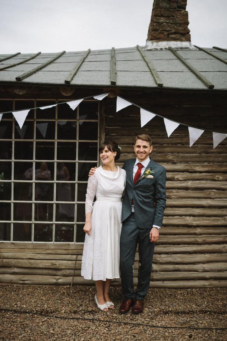 Grey Suit Groom Red Tie 1930s Dress Bride Bridal Short Vintage Log Cabin Wedding Sea http://www.lisadevinephotography.co.uk/