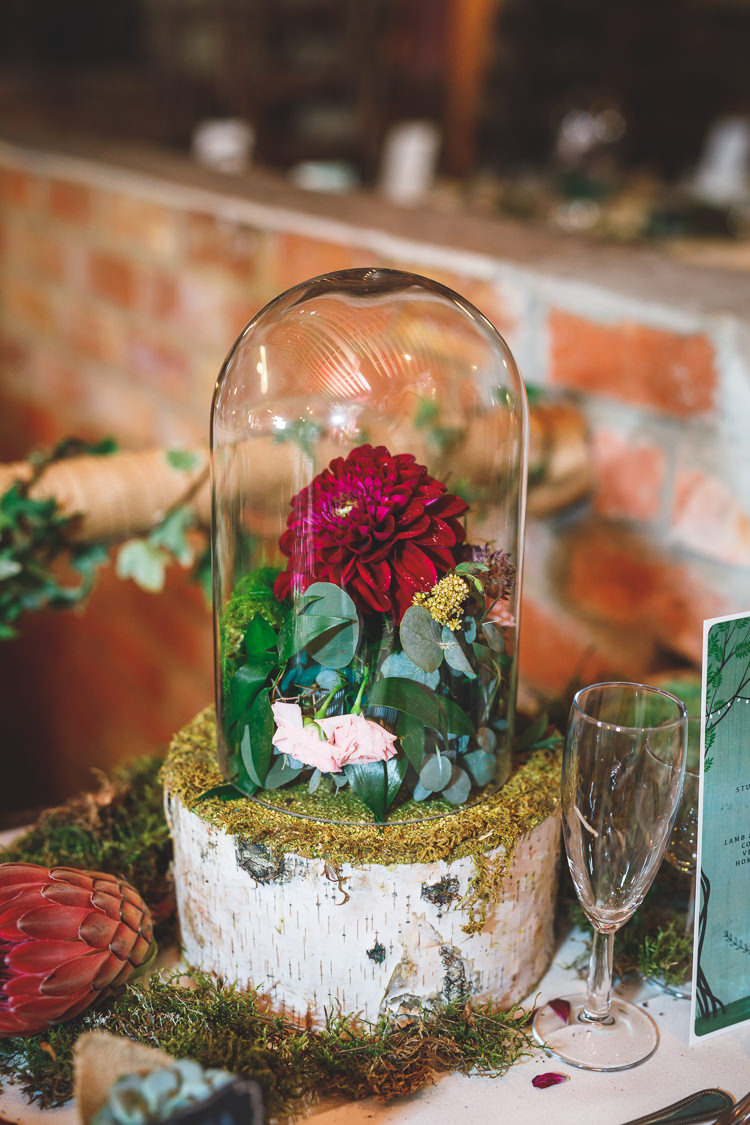 Bell Jar Florals Dhalia Greenery Cake Rustic Barn Red Gold Glam Wedding https://garethnewsteadphotography.com/