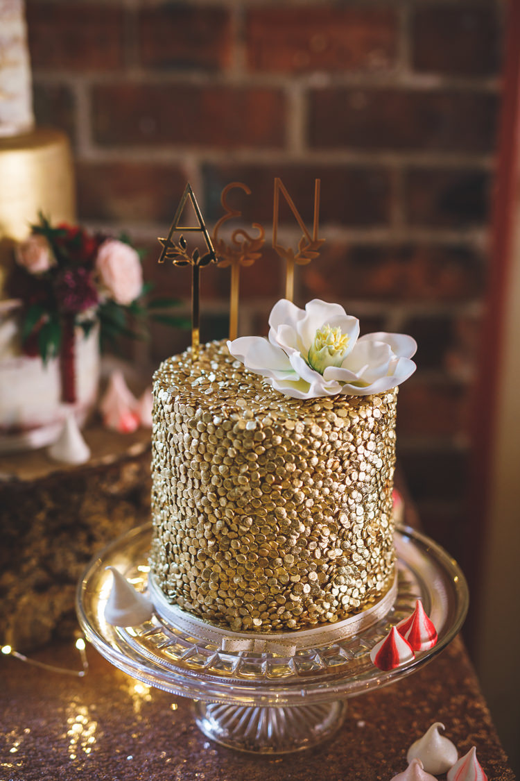 Gold Cake Metal Cut Out Letter Cake Topper Glass Stand Rustic Barn Red Gold Glam Wedding https://garethnewsteadphotography.com/