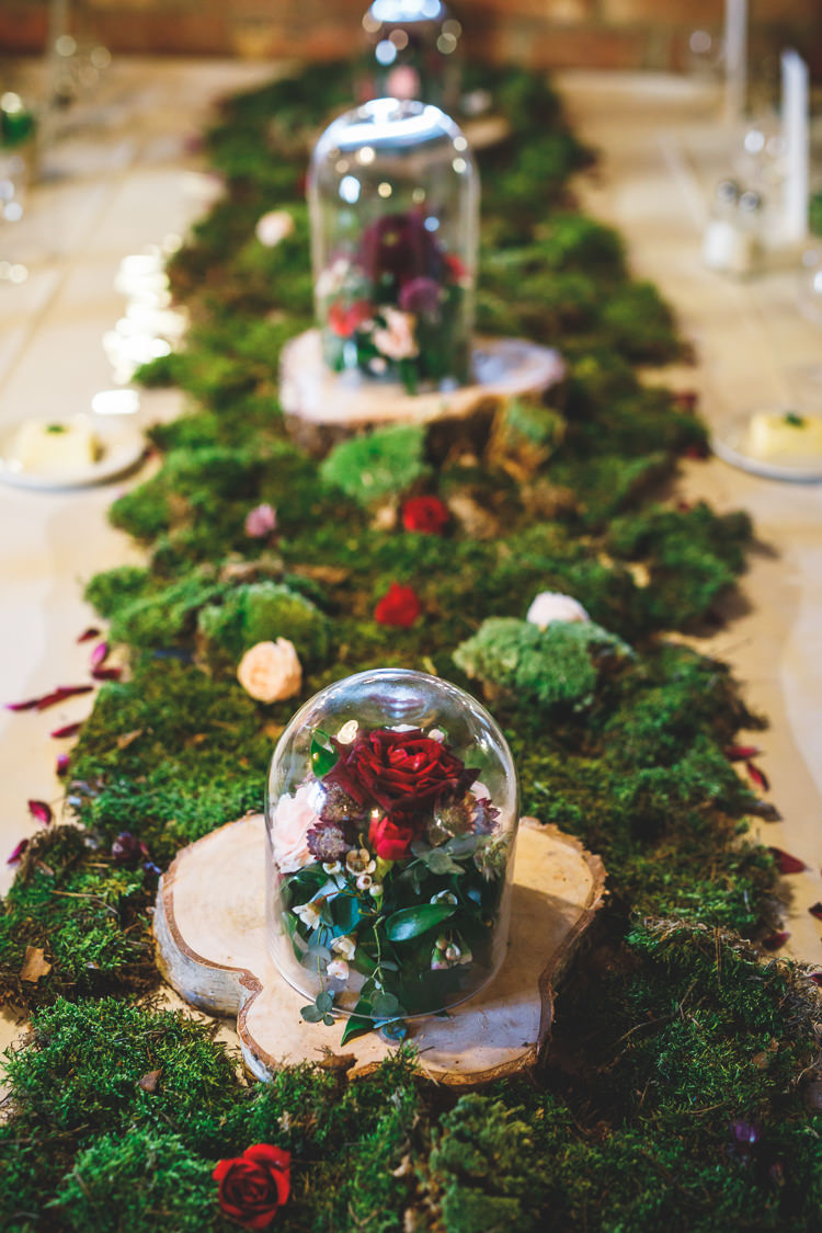 Moss Table Runner Rose Bell Jar Wood Slice Log Greenery Rustic Barn Red Gold Glam Wedding https://garethnewsteadphotography.com/