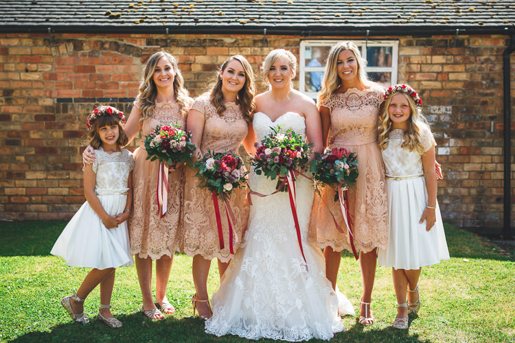 Bride Bridal Bridesmaids Chi Chi London Lace Tea Length Peach White Flower Crown Monsoon Bouquet Ribbon Sottero & Midgley Sweetheart Neckline Rustic Barn Red Gold Glam Wedding https://garethnewsteadphotography.com/