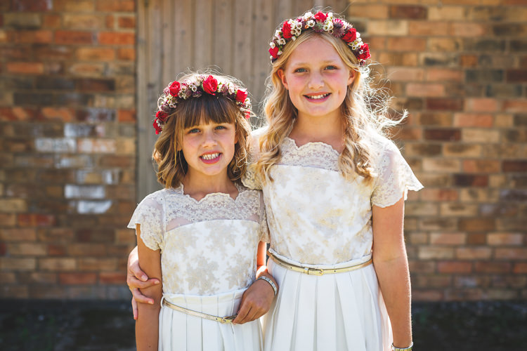 Bridesmaids Flower Girls Crown Monsoon White Lace Overlay Belt Rustic Barn Red Gold Glam Wedding https://garethnewsteadphotography.com/