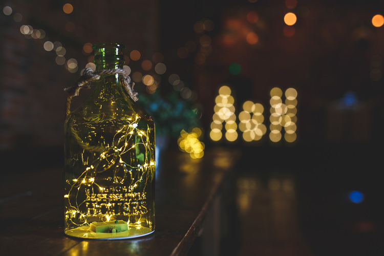 Copper Fairy Lights Bottle Rustic Barn Red Gold Glam Wedding https://garethnewsteadphotography.com/