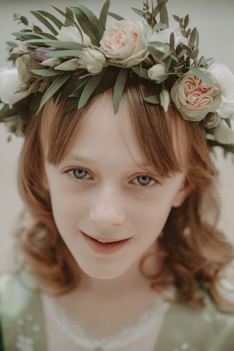 Flower Girl Crown Floral Whimsical Modern Rustic Barn Wedding http://photomagician.co.uk/