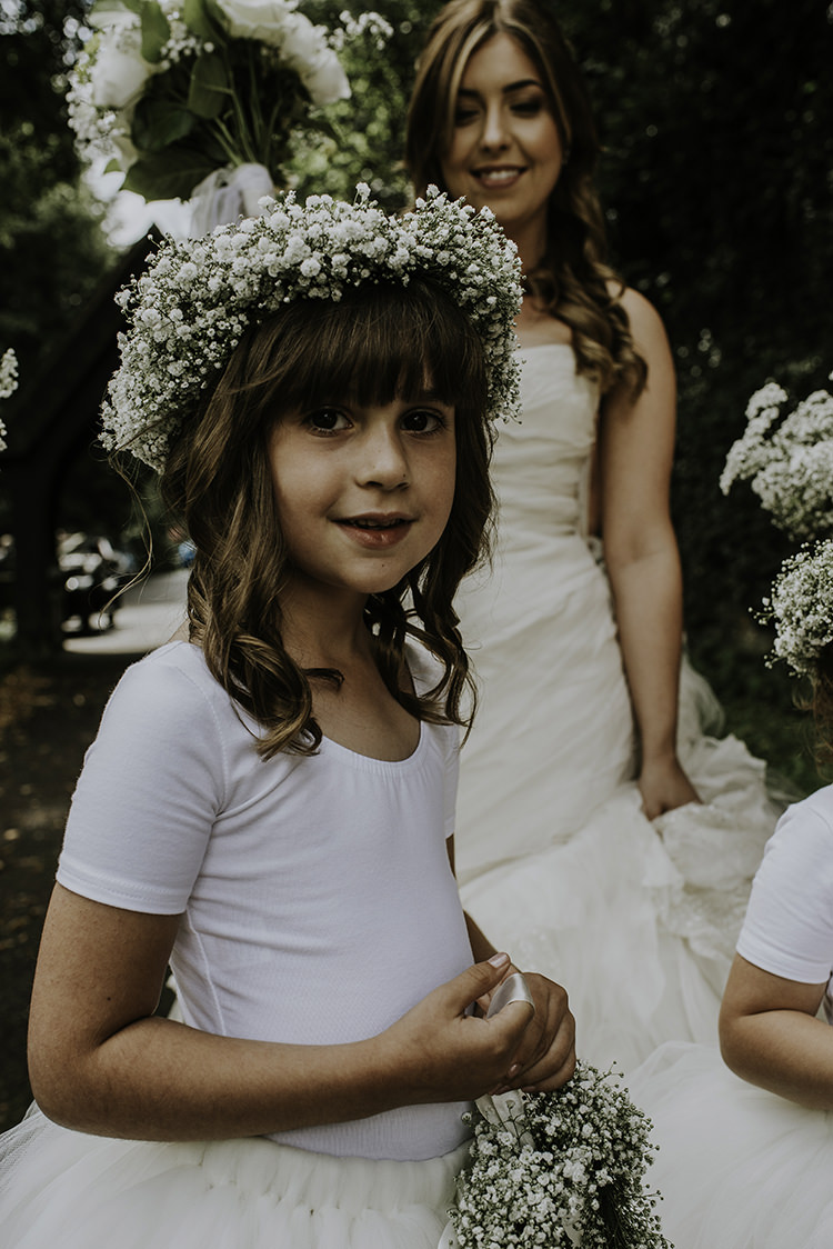 Flower Girl Gyp Gypsophila Baby Breath Crown Enchanting Country Barn Wedding http://www.dmcclane.com/
