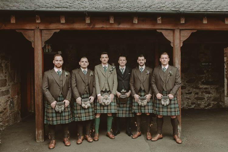Tartan Kilts Groom Groomsmen Green Brown Whimsical Modern Rustic Barn Wedding http://photomagician.co.uk/